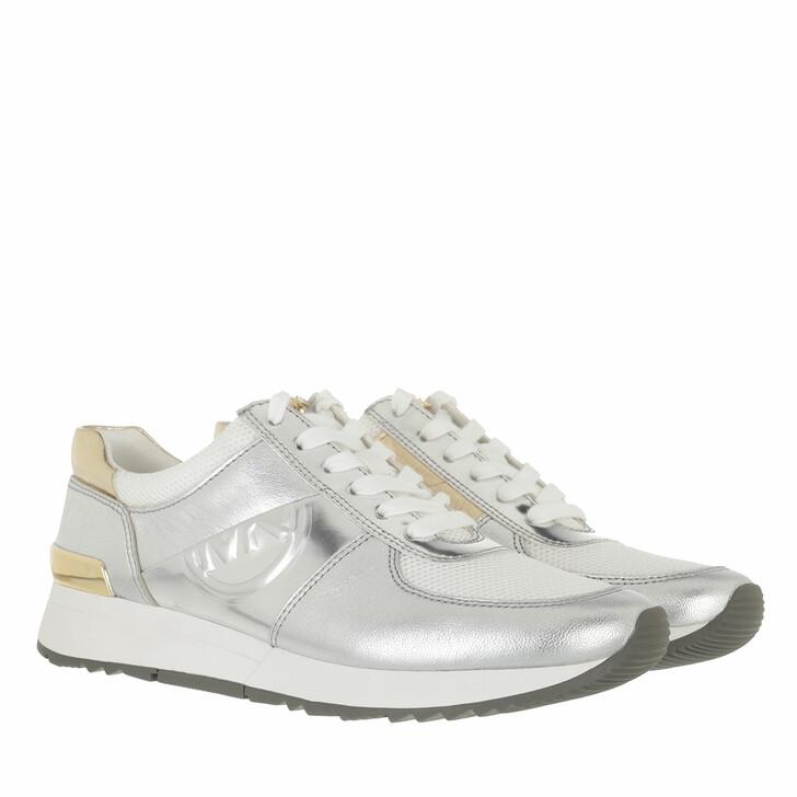 shoes, MICHAEL Michael Kors, Allie Trainer Silver/Gold