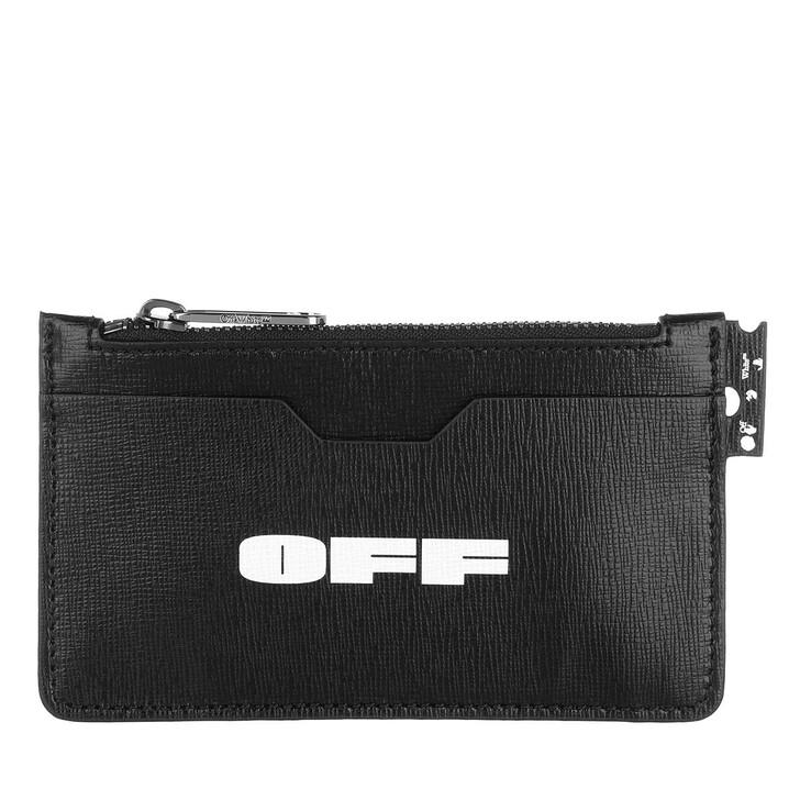 wallets, Off-White, Logo Zip Card Holder  Black White