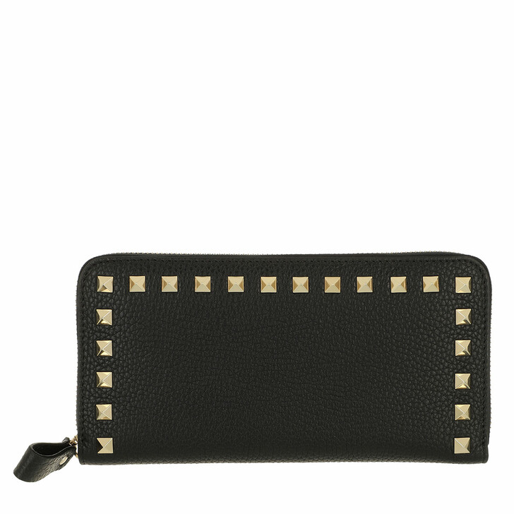 wallets, Valentino Garavani, Rockstud Wallet Large Leather Black