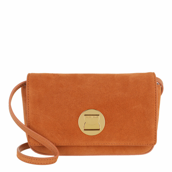 bags, Coccinelle, Mini Bag Suede Leather Chestnut