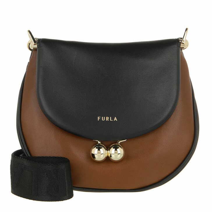 bags, Furla, Furla Portagioia Mini Crossbod Dark Cognac+Nero