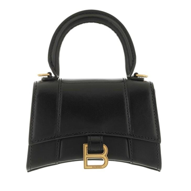bags, Balenciaga, Hourglass Handle Bag Leather Black