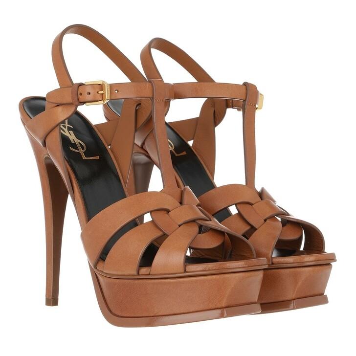 Schuh, Saint Laurent, Tribute 130 Plateau Sandals Leather Brown