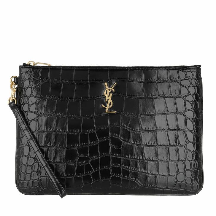 Handtasche, Saint Laurent, Monogram Tablet Pouch Croco Embossed Leather Black