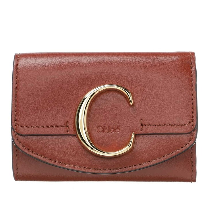 wallets, Chloé, C Folding Wallet Leather Sepia Brown