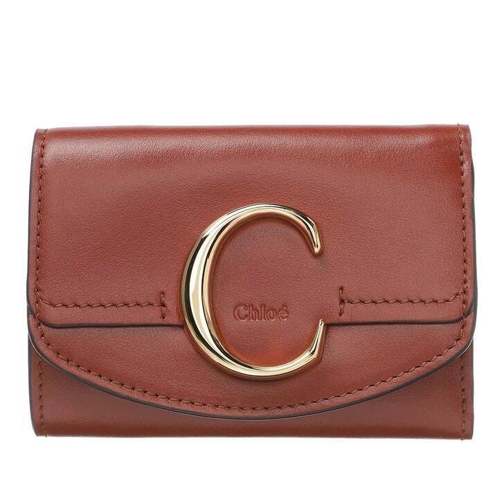 Geldbörse, Chloé, C Folding Wallet Leather Sepia Brown