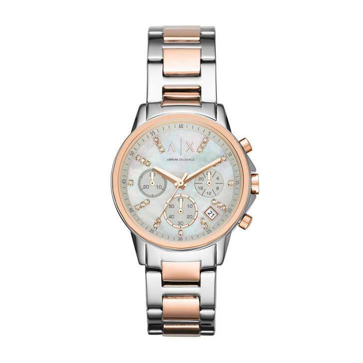 Uhr, Armani Exchange, AX4331 Ladies Lady Banks Watch Silver/Roségold