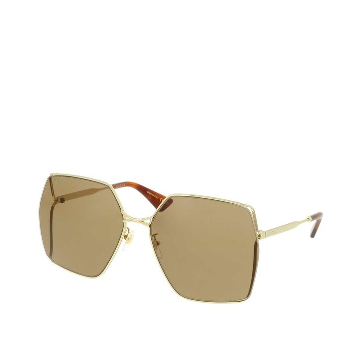 Sonnenbrille, Gucci, GG0817S-002 65 Sunglass WOMAN METAL Gold