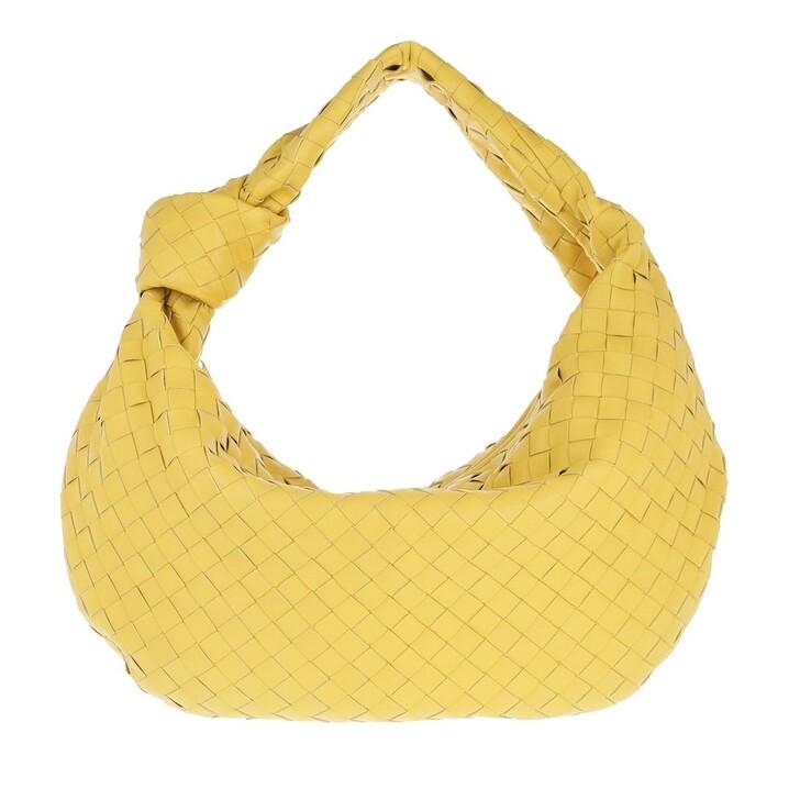 bags, Bottega Veneta, Jodie Intrecciato Knot Shoulder Bag Leather Corn/Gold