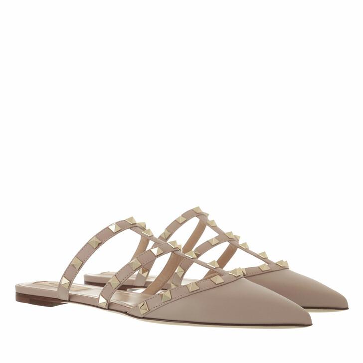 Schuh, Valentino Garavani, Rockstud Flat Leather Mules Poudre