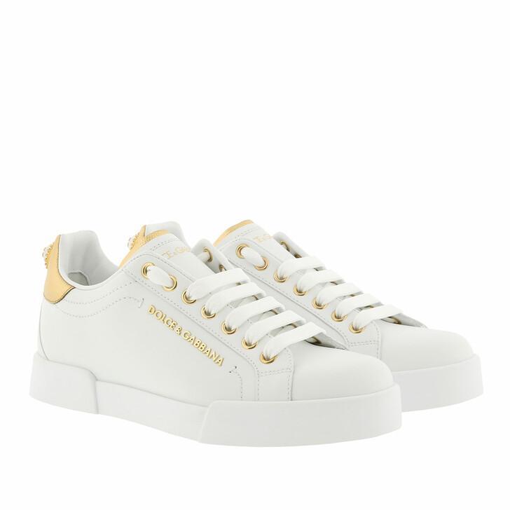 Schuh, Dolce&Gabbana, Portofino Pearl Sneakers Leather White/Gold