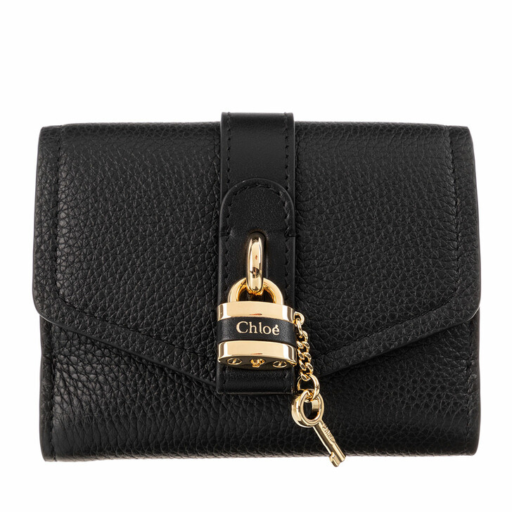 Handtasche, Chloé, Aby Tri-Fold Wallet Calf Leather Black