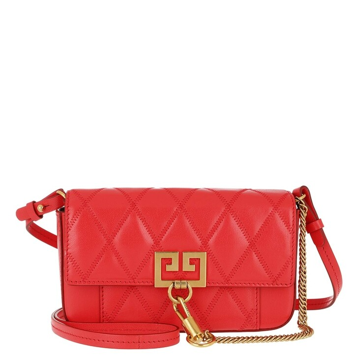 bags, Givenchy, Mini Pocket Bag Diamond Quilted Leather Red
