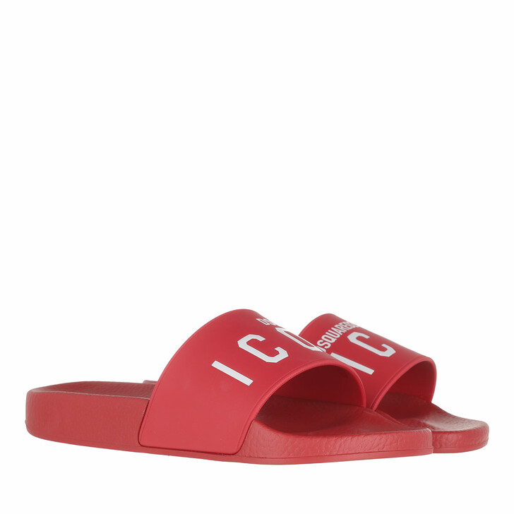 Schuh, Dsquared2, Icon Slide Sandals Red/White