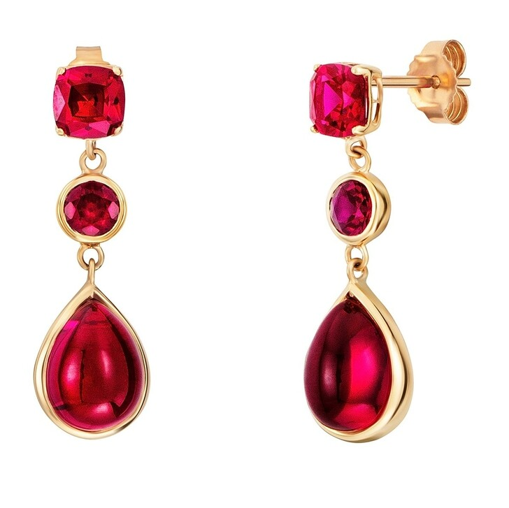 Ohrring, BELORO, Earring Red Ruby 9K Gold