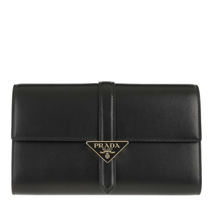 bags, Prada, Pouch Wallet Leather Black