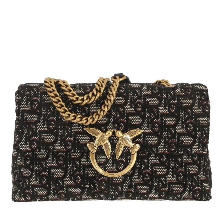 bags, Pinko, Love Lady Puff Logo Monogram C Nero Viola