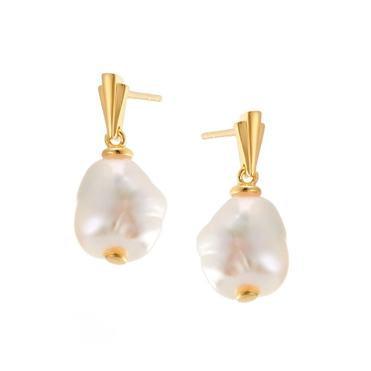 Ohrring, V by Laura Vann, Coco Drop Earrings Baroque Pearl/Yellow Gold