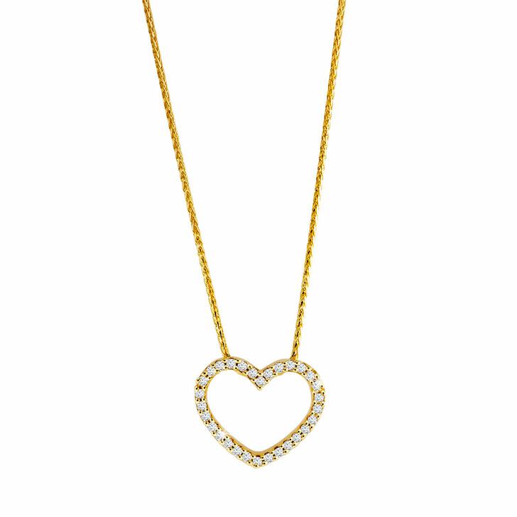 necklaces, diamondline, Pendant/Chain 375 30 Diamonds total approx. 0,10 c Yellow Gold