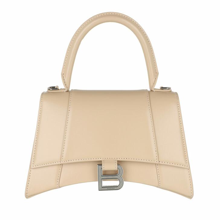Handtasche, Balenciaga, Hourglass Small Handle Bag Leather Light Beige