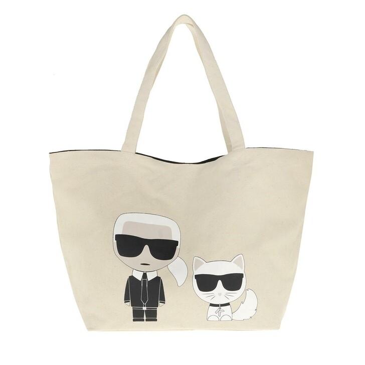 Handtasche, Karl Lagerfeld, Ikonik Karl And Choupette Tote Bag Natural
