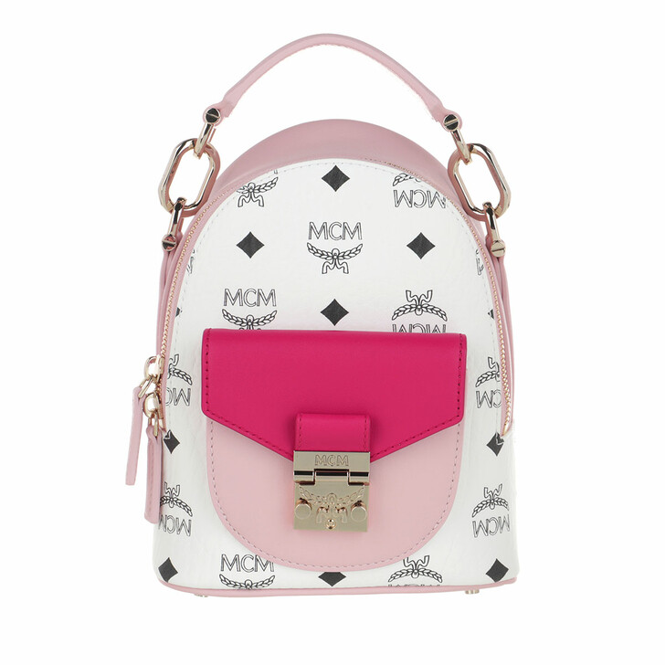 Reisetasche, MCM,  X-Mini Patricia Visetos Leather Block Backpack Powder Pink