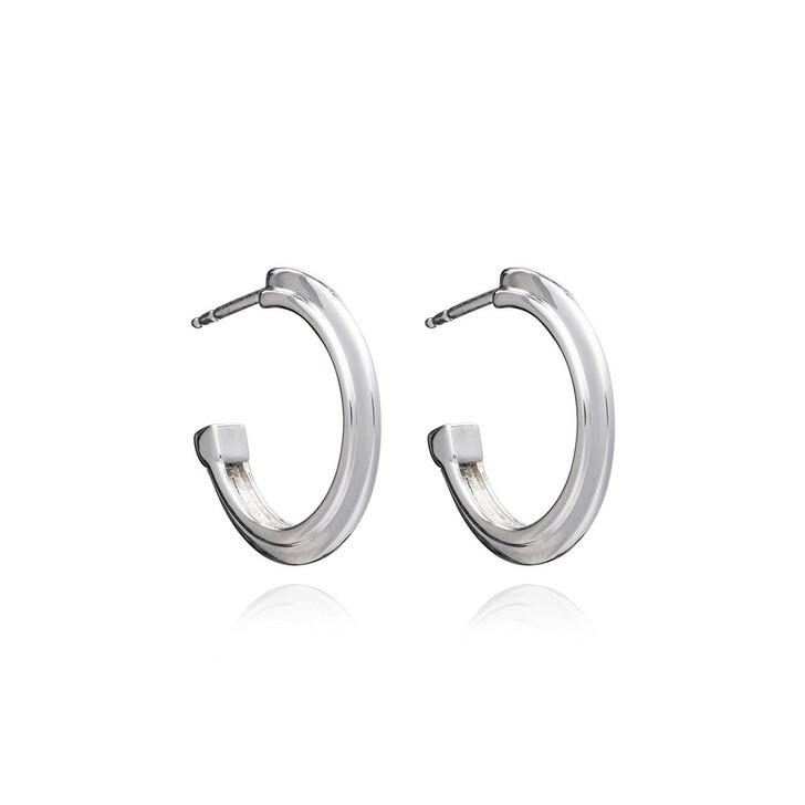 Ohrring, Rachel Jackson London, Art Deco Stepped Hoops Earrings Silver