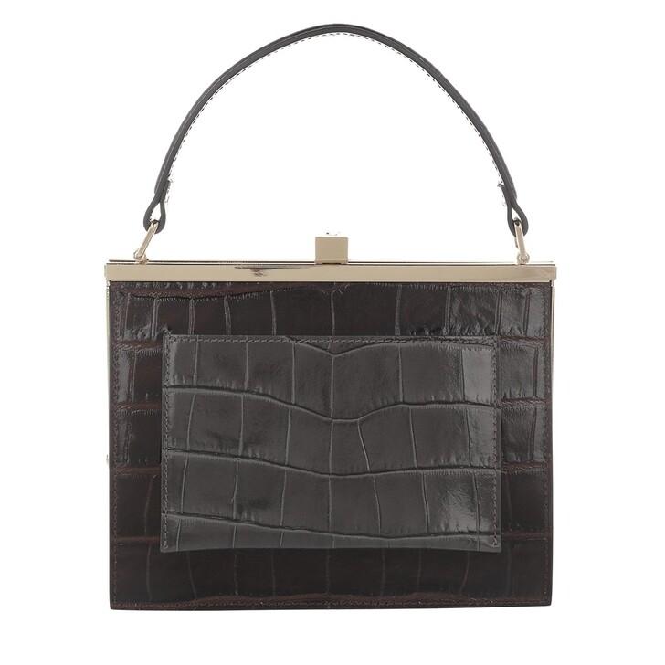 Handtasche, L´Autre Chose, Top Handle Bicolor Kokko Dark Brown/Dark Grey