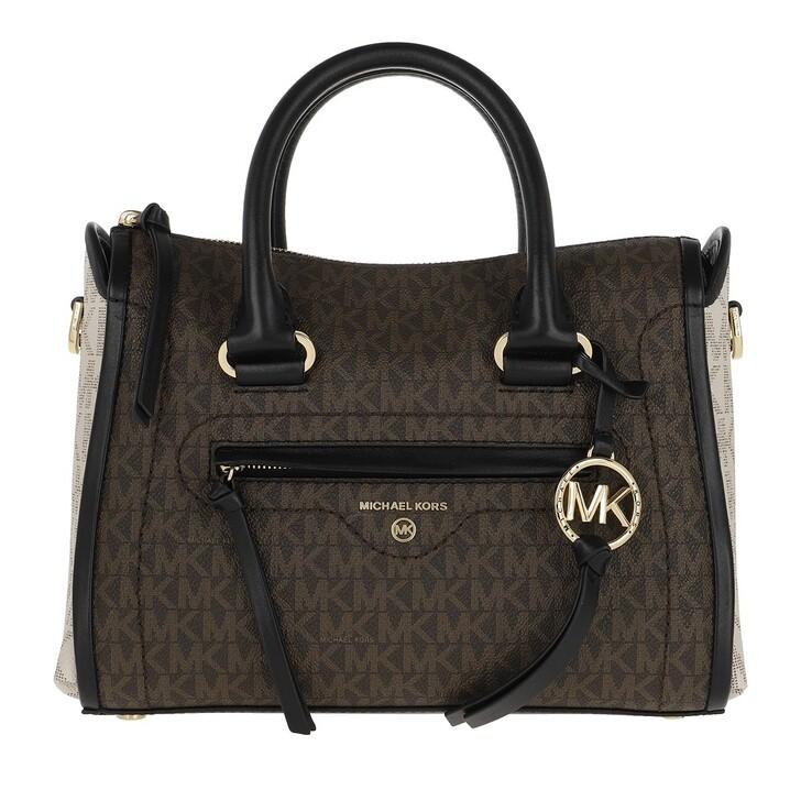 Handtasche, MICHAEL Michael Kors, Carina SM Satchel Bag Brown Multi