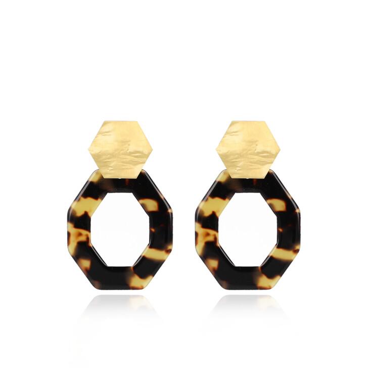 Ohrring, LOTT.gioielli, Earrings Resin Hexagon Open Oval Medium Turtoise Gold
