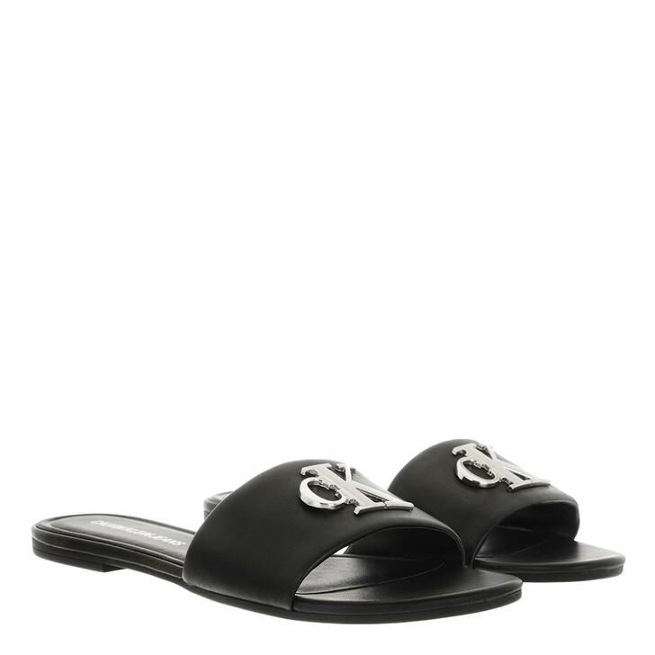 Schuh, Calvin Klein, Flat Slide Sandals Leather Black