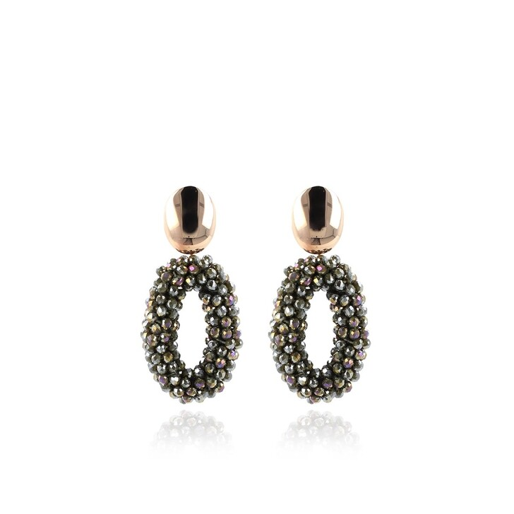 Ohrring, LOTT.gioielli, Earring Glassberry Oval M Sparkling Army Green