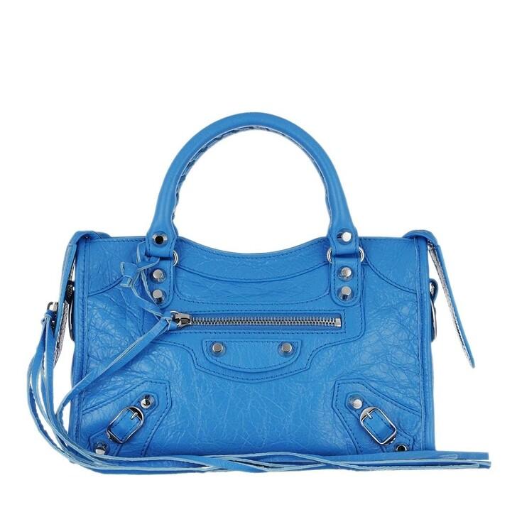 bags, Balenciaga, Classic Mini City Arena Crossbody Screen Blue