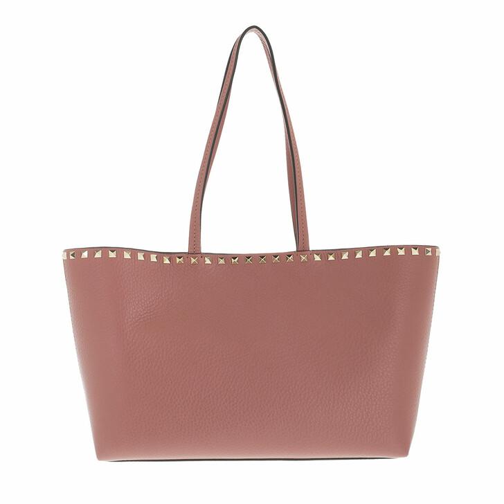 bags, Valentino Garavani, Rockstud Shopping Bag Calfskin Dark Nude