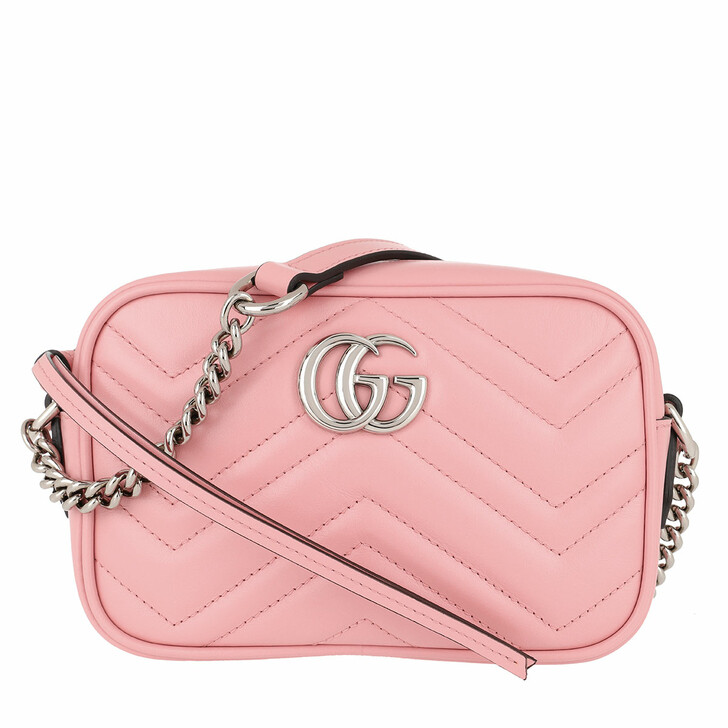 Handtasche, Gucci, Mini GG Marmont Shoulder Bag Leather Wild Rose