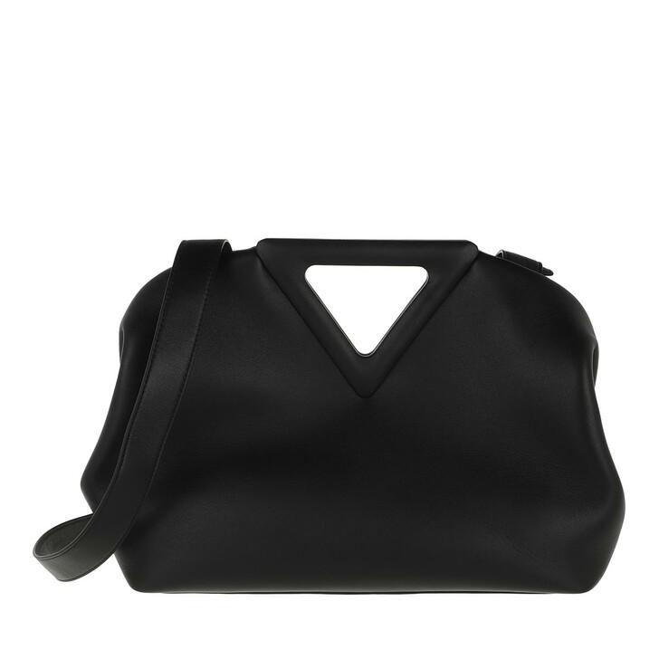 Handtasche, Bottega Veneta, Small Triangle Handle Bag Black Silver