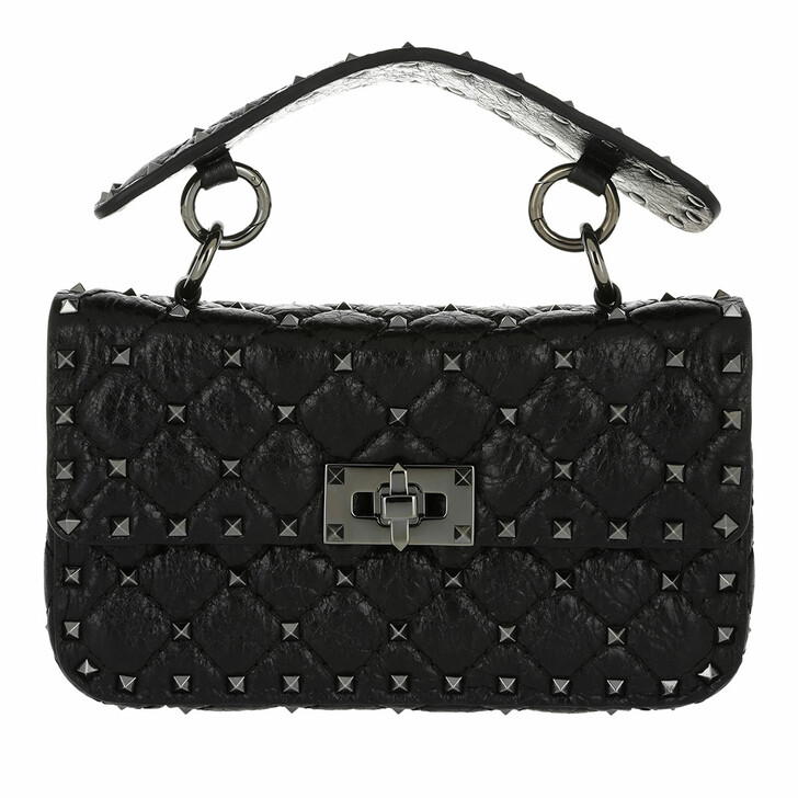Handtasche, Valentino, Rockstud Spike Crossbody Bag Small Craquelé Nero