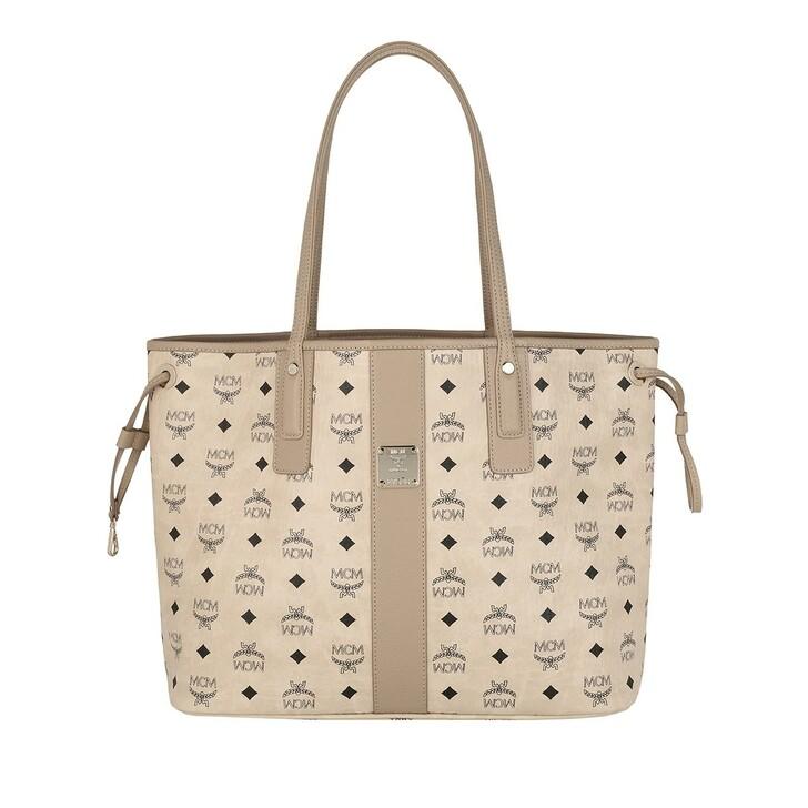 Handtasche, MCM, Medium Reversible Liz Shopper Beige