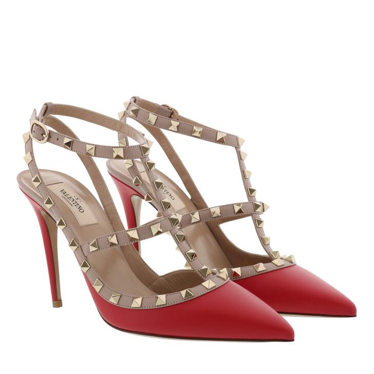 Schuh, Valentino Garavani, Rock Stud Sandal Red