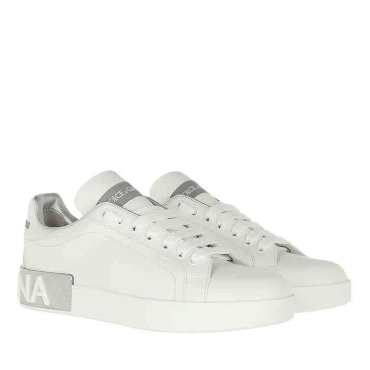 Schuh, Dolce&Gabbana, Portofino Sneakers Nappa White Argento