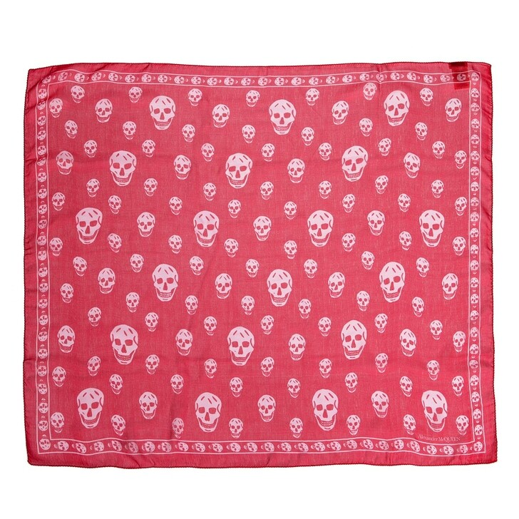 scarves, Alexander McQueen, Skull Scarf 104X120 Lacquer/Pink