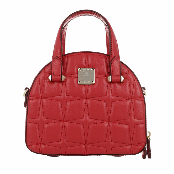 bags, MCM, Essential Quilted Diamond Tote Mini Red