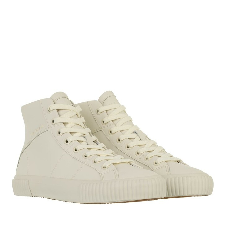 shoes, Ted Baker, Kimyil Leather Colour Drench High Top Vulc Trainer Ecru