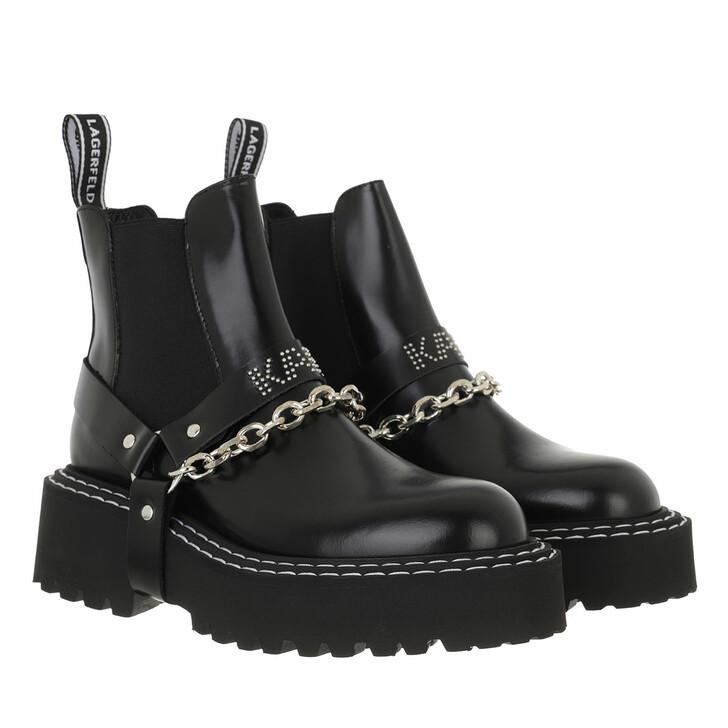shoes, Karl Lagerfeld, PATROL II Strap Gore Boot Leather Black Leather
