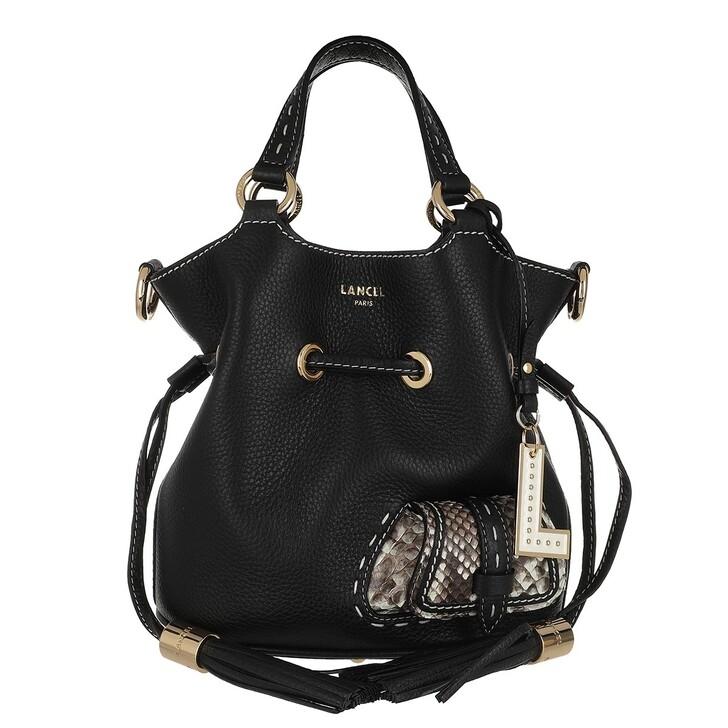 Handtasche, Lancel, 1Er Flirt Grained Leather And Python Bucket Bag Sm Black/Roccia