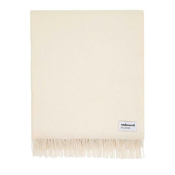home_textiles, Embraced Studios, Herringbone Sofa Cotton Blanket Dark Creme