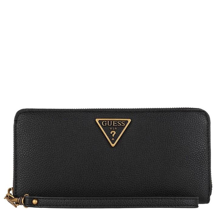 wallets, Guess, Destiny Large Zip Around Wallet Black