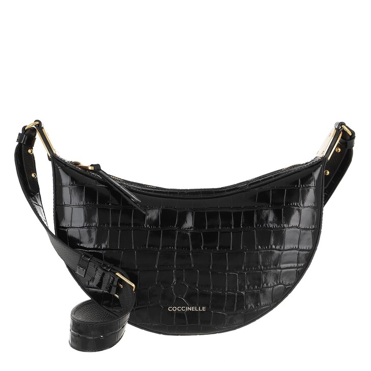 Handtasche, Coccinelle, Anais Croco Shiny Soft Crossbody Bag Noir