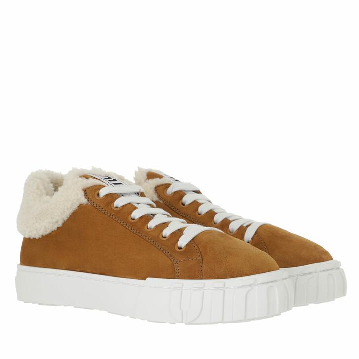 shoes, Miu Miu, Slip On Shoes Suede Cognac