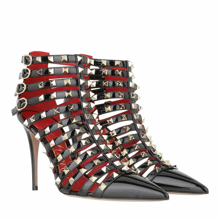 shoes, Valentino Garavani, Rockstud Alcove Ankle Heels Patent Leather Black/Red
